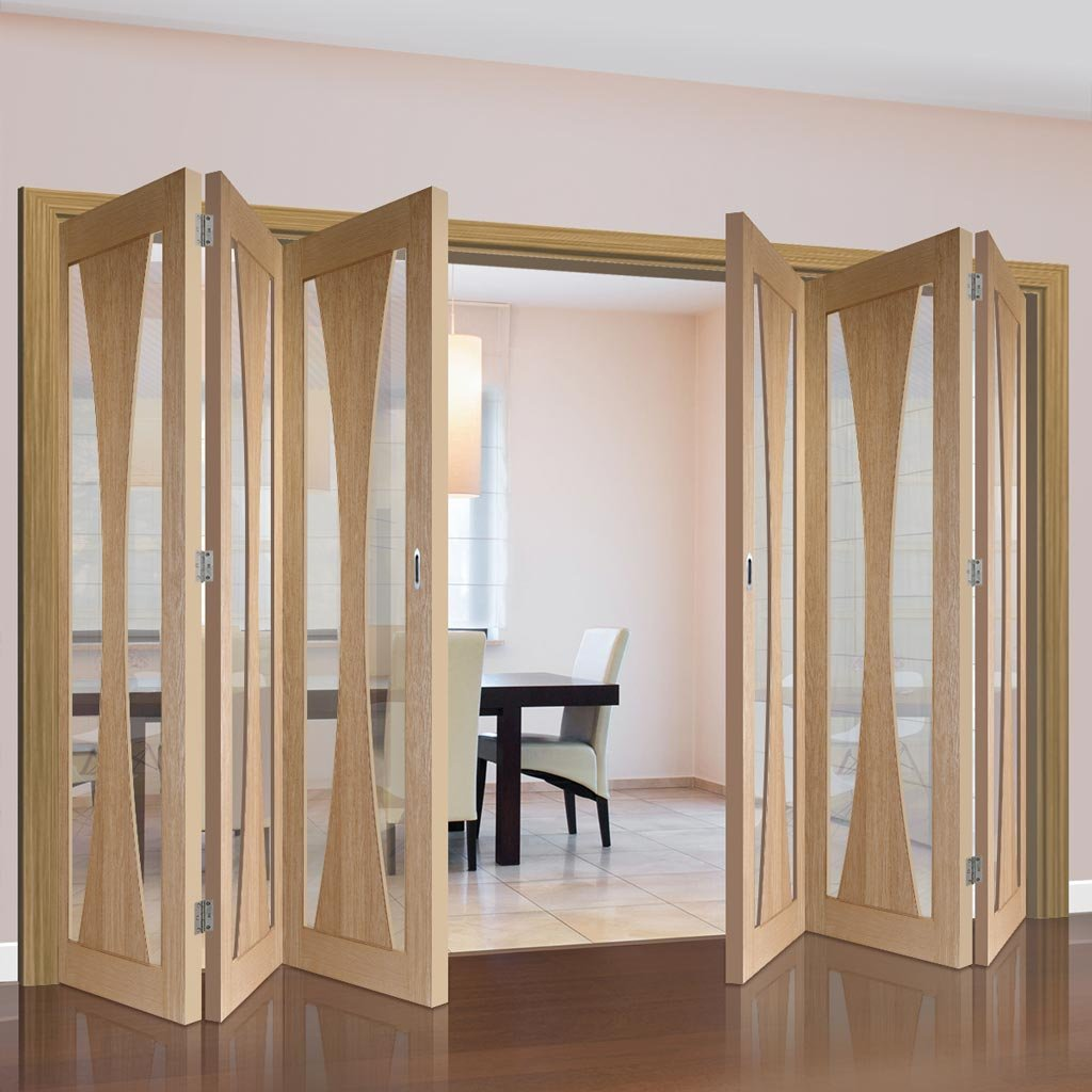 Bespoke Thrufold Verona Oak Glazed Folding 3+3 Door - Prefinished