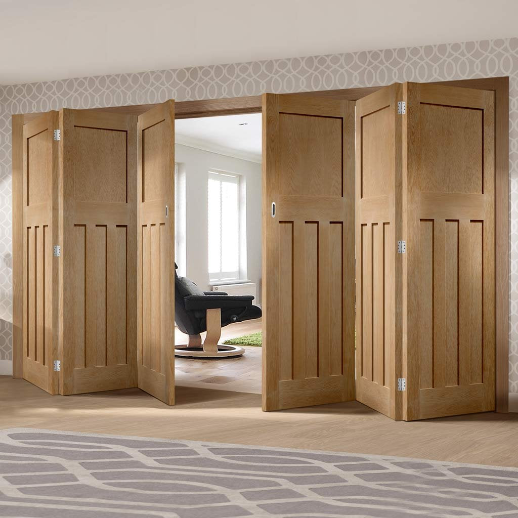 Bespoke Thrufold DX 1930'S Oak Panel Folding 3+3 Door - Prefinished