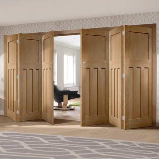 Image: Six Folding Doors & Frame Kit - DX 1930'S Oak Panel 3+3 - Prefinished