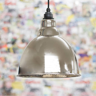 Image: Hammered Nickel Brindley Pendant Ceiling Light Fitting