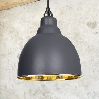 Image: Dark Grey Hammered Brass Brindley Pendant Ceiling Light Fitting
