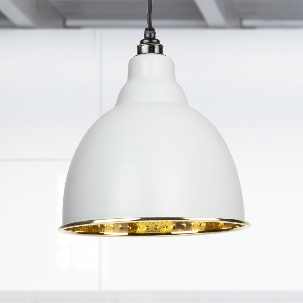 Light Grey Hammered Brass Brindley Pendant Ceiling Light Fitting