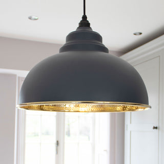 Image: Dark Grey Hammered Brass Harborne Pendant Ceiling Light Fitting