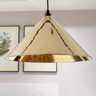 Image: Hammered Brass Hockley Pendant Ceiling Light Fitting