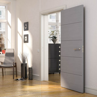Image: Bespoke Fire Door - Flush Horizontal Grey Inlay - American Light Grey Ash Veneer - 30 Minute Fire Rated - Prefinished
