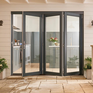 Image: Jeld-Wen Bedgebury Grey 3+0 Folding Patio Doorset - Clear Double Glazing - Fully Finished