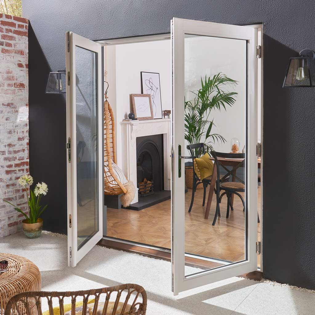 JELDWEN Bedgebury White French Patio Doorset - Clear Double Glazing - Fully Finished