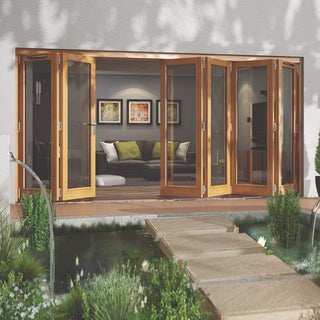 Image: Jeld-Wen Canberra Stained Oak Fold and Slide Solid Patio Doorset, OCAN42 2L4R, 2 Left - 4 Right, 4194mm Wide