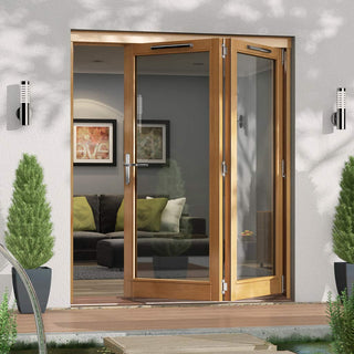 Image: Jeld-Wen Canberra Stained Oak Fold and Slide Solid Patio Doorset, OCAN18 2R, 2 Right, 1794mm Wide