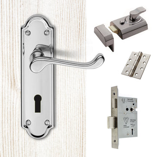 Image: External DL17 Ashtead Suite Lever Front Door Handle Pack - Chrome Finish