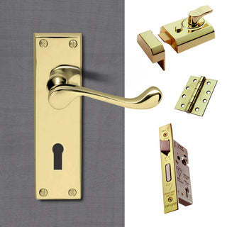 Image: External DL54 Victorian Scroll Lever Front Door Handle Pack - Brass Finish