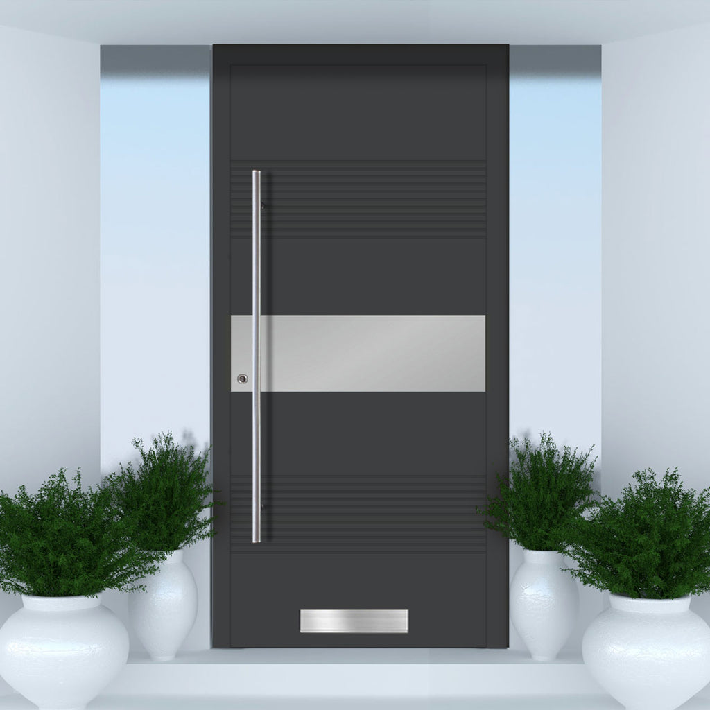 External Spitfire Aluminium S-200 Door - 1721 CNC Grooves & Stainless Steel - Solid - 7 Colour Options