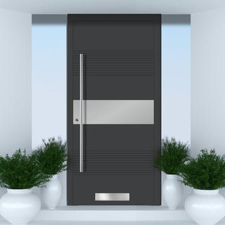 Image: External Spitfire Aluminium S-200 Door - 1721 CNC Grooves & Stainless Steel - Solid - 7 Colour Options