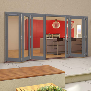 Image: Jeld-Wen Darwin Dusky Grey Painted Hardwood Fold and Slide Patio Doorset, GDAR423L3R, 3 Left - 3 Right, 4194mm Wide