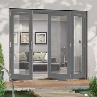 Image: Jeld-Wen Darwin Dusky Grey Painted Hardwood Fold and Slide Patio Doorset, GDAR241L2R, 1 Left - 2 Right, 2394mm Wide