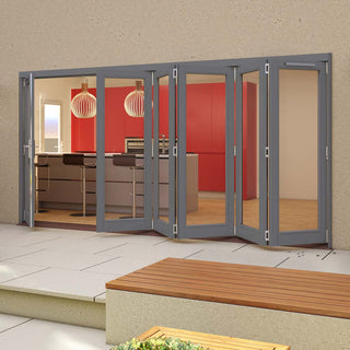 Image: Jeld-Wen Darwin Dusky Grey Painted Hardwood Fold and Slide Patio Doorset, GDAR481L5R, 1 Left - 5 Right, 4794mm Wide
