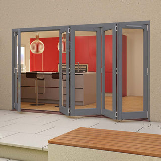 Image: Jeld-Wen Darwin Dusky Grey Painted Hardwood Fold and Slide Patio Doorset, GDAR361L4R, 1 Left - 4 Right, 3594mm Wide