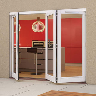 Image: Jeld-Wen Darwin White Painted Hardwood Fold and Slide Patio Doorset, WDAR241L2R, 1 Left - 2 Right, 2394mm Wide