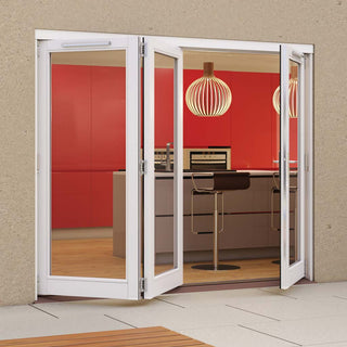 Image: Jeld-Wen Darwin White Painted Hardwood Fold and Slide Patio Doorset, WDAR242L1R, 2 Left - 1 Right, 2394mm Wide