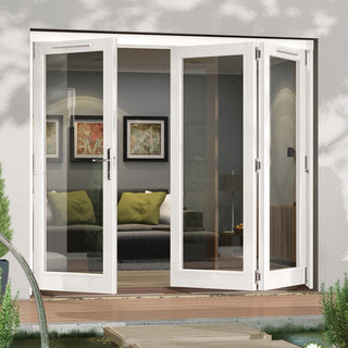 Image: Jeld-Wen Darwin White Painted Hardwood Fold and Slide Patio Doorset, WDAR211L2R, 1 Left - 2 Right, 2094mm Wide