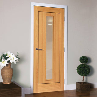 Image: J B Kind Oak Contemporary Spencer Door - Clear Glass - Prefinished