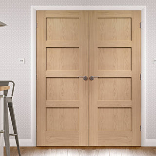 Image: Shaker Oak 4 Panel Door Pair