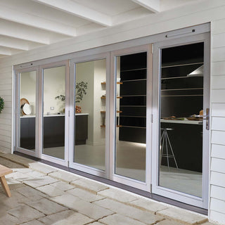 Image: Jeld-Wen EXTERNAL Kielder Grey Oak 5+0 Folding Sliding Patio Doorset - Clear Double Glazing - Stained, 3594cm Wide