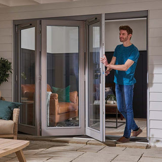 Image: Jeld-Wen EXTERNAL Kielder Grey Oak 3+0 Folding Sliding Patio Doorset - Clear Double Glazing - Stained, 2394cm Wide
