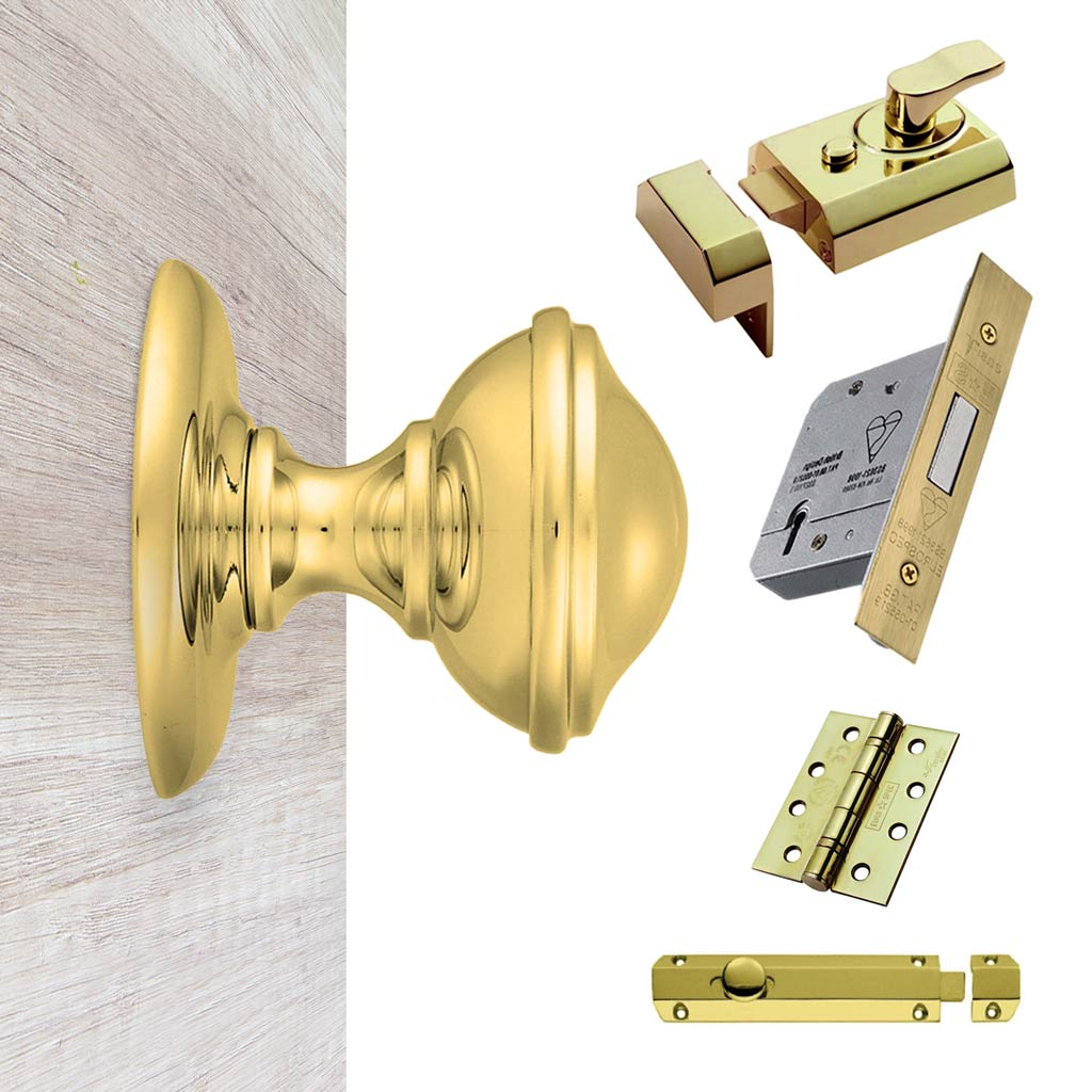 External M60 Round Centre Knob Stable Door Handle Pack - Brass Finish