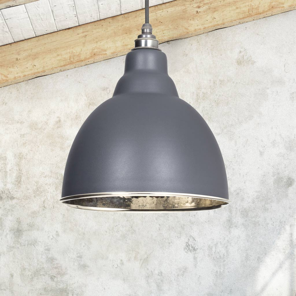Dark Grey Hammered Nickel Brindley Pendant Ceiling Light Fitting