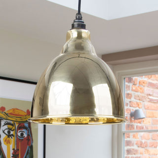 Image: Hammered Brass Brindley Pendant Ceiling Light Fitting