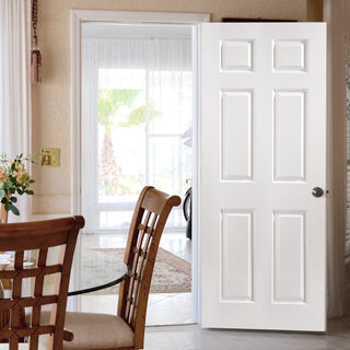 Image: JELD-WEN Bostonian 6 Panel Woodgrain Hollow Door - Undercoated - Moulded Range