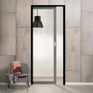 Image: Bespoke Industrial Single Pocket Door WK6301G - Clear Glass - 4 Prefinished Colour Choices