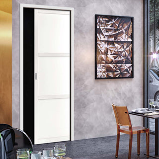 Image: Bespoke Industrial Single Pocket Door WK6305 - 4 Prefinished Colour Choices