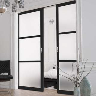 Image: Bespoke Double Pocket Door WK6306 - Frosted Glass - 2 Prefinished Colour Choices