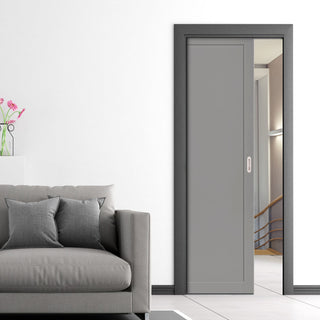 Image: Bespoke Industrial Single Pocket Door WK6351 - 4 Prefinished Colour Choices