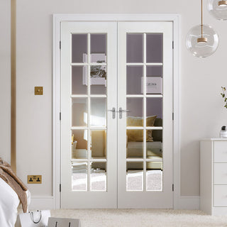Image: GTP SA 10 Pane Door Pair - Bevelled Clear Glass - White Primed
