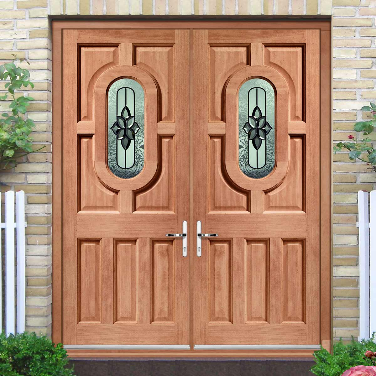 Acacia External Mahogany Dowelled Double Door and Frame Set - Chesterton Style Double Glazing