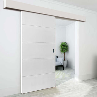 Image: Thruslide Surface Limelight Adelphi White Primed Flush Sliding Door and Track Kit