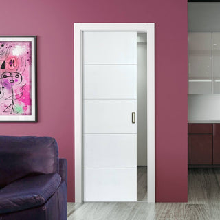 Image: Limelight Adelphi Flush Evokit Pocket Fire Door - 30 Minute Fire Rated - White Primed