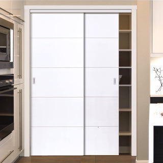 Image: Thruslide Limelight Adelphi White Primed Flush 2 Door Wardrobe and Frame Kit