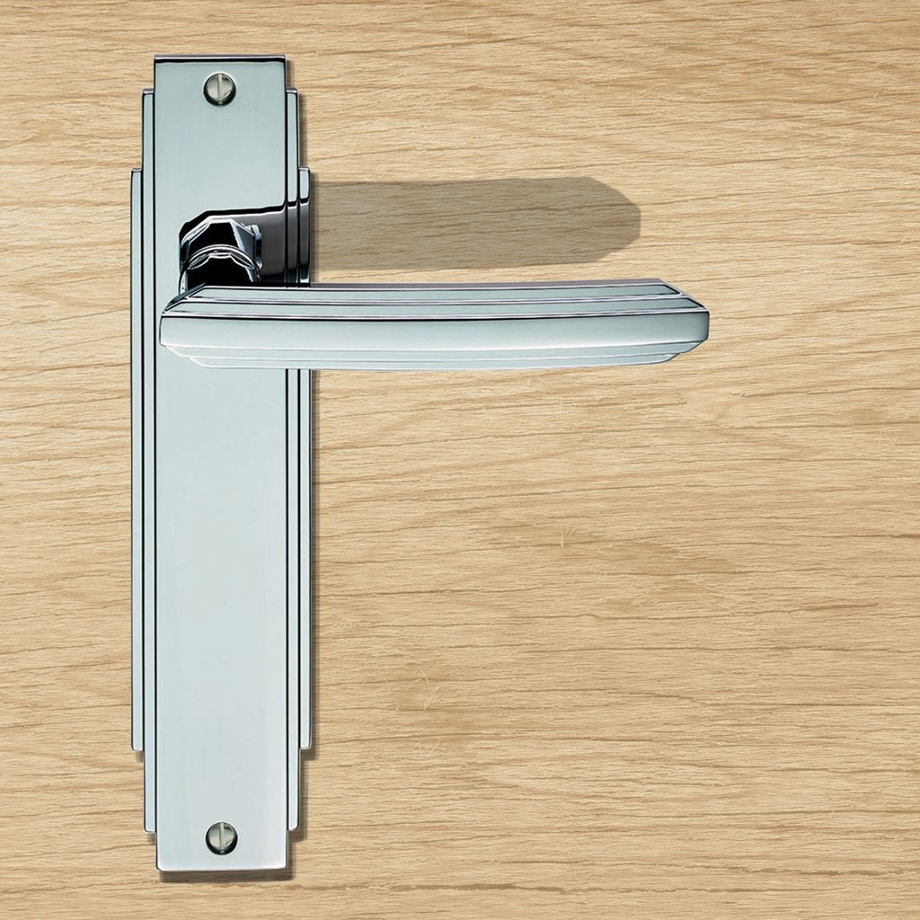 Art Deco ADR012 Lever Latch Door Handles on Backplate - 2 Finishes