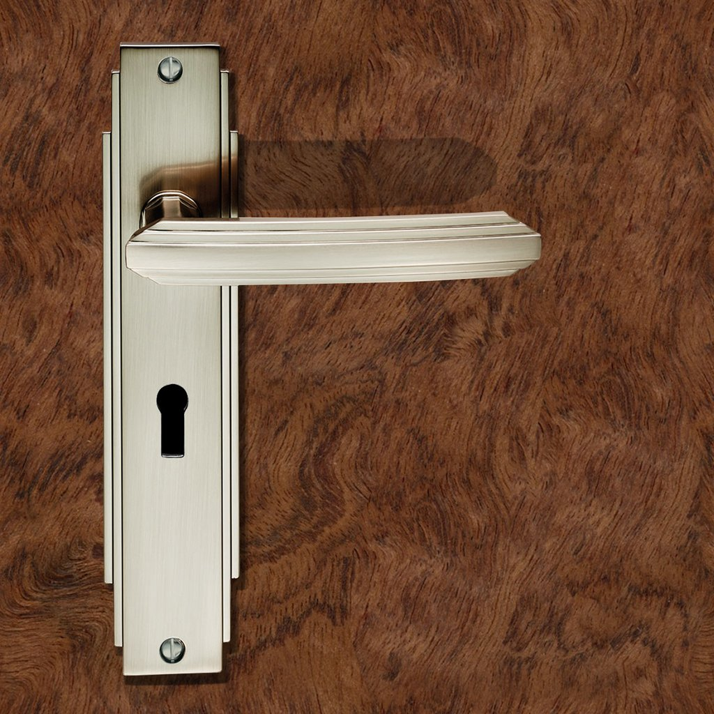 Art Deco ADR011 Lever Lock Door Handles on Backplate - 2 Finishes