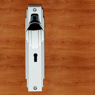 Image: Art Deco ADR021 Knob Lock Door Handles on Backplate - 2 Finishes