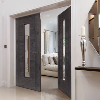 Image: J B Kind Laminates Alabama Cinza Dark Grey Coloured Door Pair - Clear Glass - Prefinished