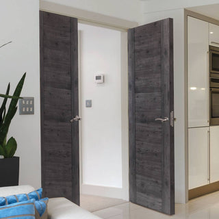 Image: J B Kind Laminates Alabama Cinza Dark Grey Coloured Door Pair - 1/2 Hour Fire Rated - Prefinished