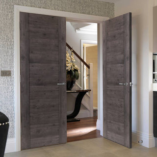 Image: J B Kind Laminates Alabama Cinza Dark Grey Coloured Door Pair - Prefinished