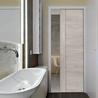 Image: Laminates Alabama Fumo Smoky Grey Coloured Single Evokit Pocket Door - Prefinished