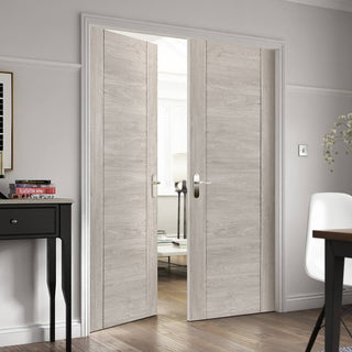 Image: J B Kind Laminates Alabama Fumo Smoky Grey Coloured Door Pair - Prefinished