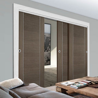 Image: Bespoke Thruslide Chocolate Grey Alcaraz Door - 3 Sliding Doors and Frame Kit - Prefinished